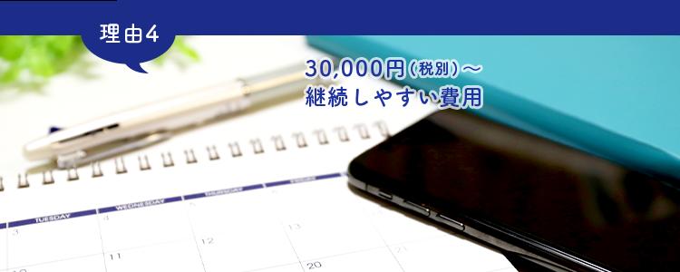 30,000円(税別)~継続しやすい費用